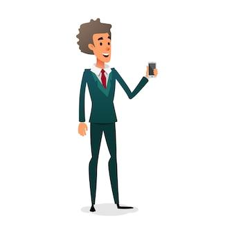 Sales consultant shows a gadget