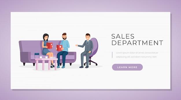 Sales department banner vector template