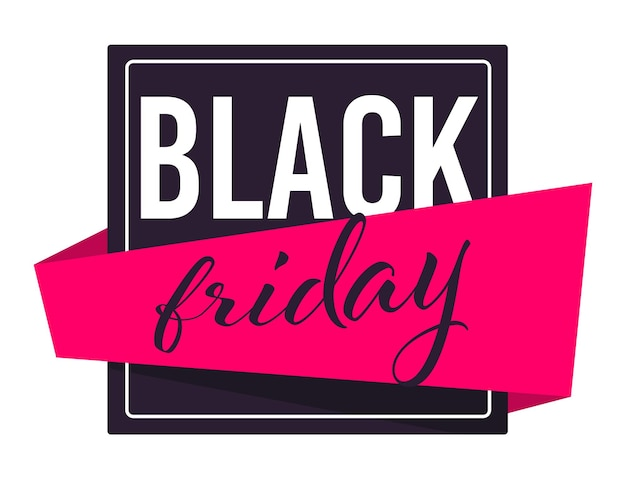 Sales and discounts for black friday holiday, isolated banner with ribbon and calligraphic text. shopping at store, purchasing products on discount, promotion and advertisement vector in flat