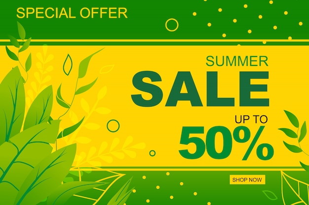 Sales flat banner template with half price purchase special offer.