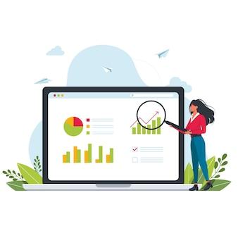 売上予測とインデックス、利益分析。モニターにチャートを表示した販売進捗コンセプト。データ検索:人々は虫眼鏡を使用してデータを検索および分析します。女性はモニター画面の近くに立っています