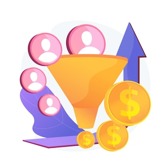 セールスファネルとリードジェネレーション。収益性の高いデジタルマーケティング。顧客誘致技術。商取引、貿易、成功する戦略。