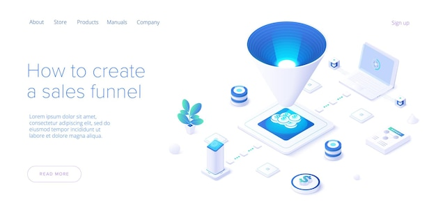 Sales funnel concept in isometric illustration. web template.