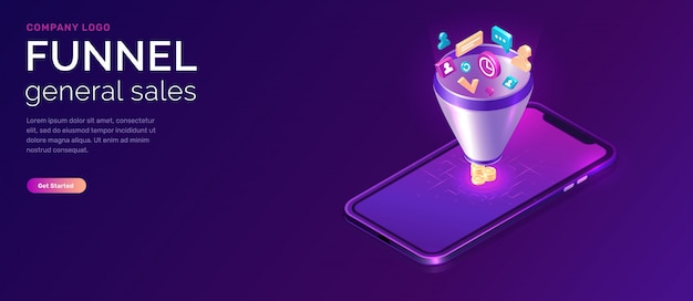 Sales funnel, isometric web template