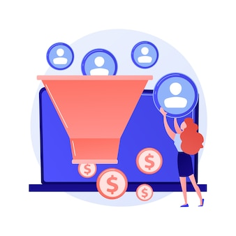 Sales funnel. lead generation, customer management, marketing strategy. commerce conversion flat design element. selling plan. clients filter concept illustration