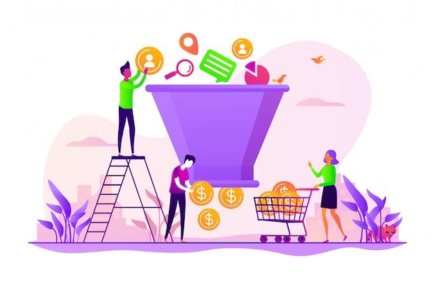 Sales funnel management concept.