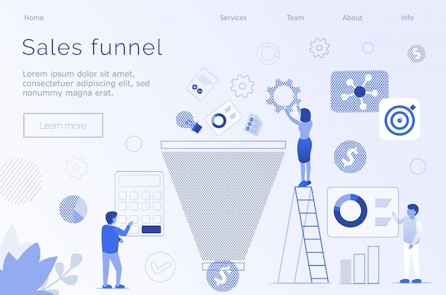 Sales funnel marketing metaphor editable text page