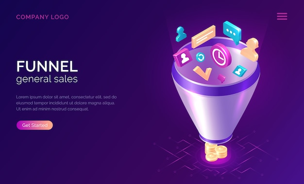 Sales funnel website template