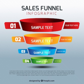Sales infographic template with four colorful stages