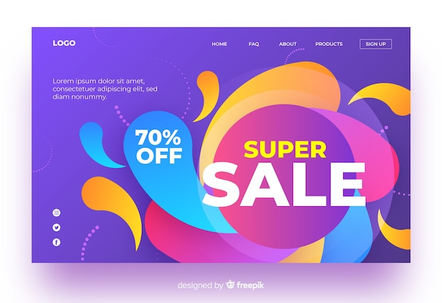 Sales landing page in gradient