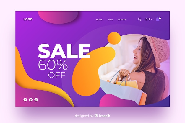 Sales landing page with gradient