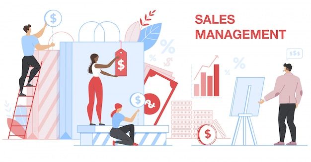 Sales management banner. financial statistic.