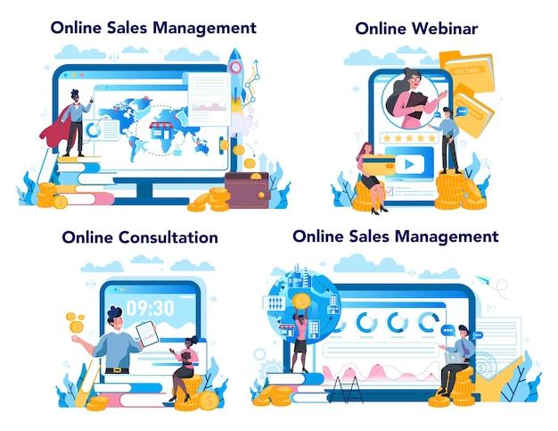 セールスマネージャーまたはコマーシャルディレクターのオンラインサービスまたはプラットフォームセット