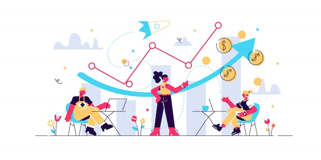 Sales managers with laptops and growth chart. sales growth and manager, accounting, sales promotion and operations concept on white background. living coral blue isolated illustration