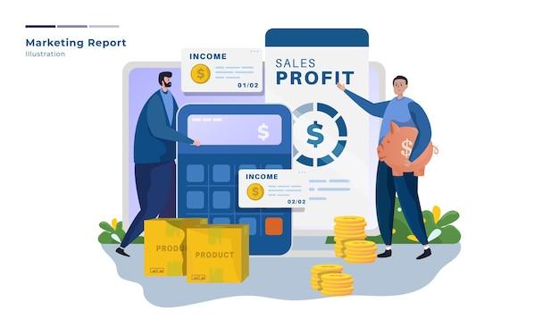 Иллюстрация презентации отчета по маркетингу продаж Premium векторы