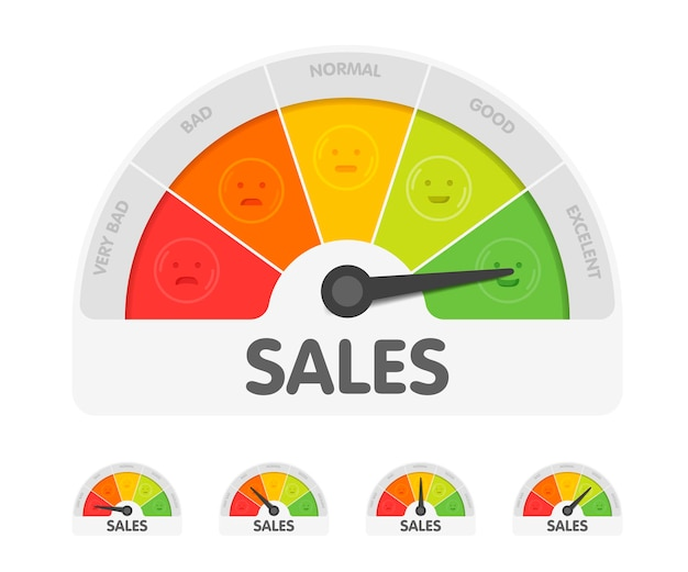 さまざまな感情を持つセールスメーター。測定ゲージインジケーターのベクトル図。色付きチャートの背景に黒い矢印。