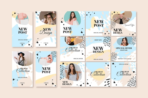 Sales new post instagram template with female model