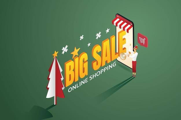セールスオンラインショッピングクリスマスコンセプトメガホンプロモーションセール割引の女性