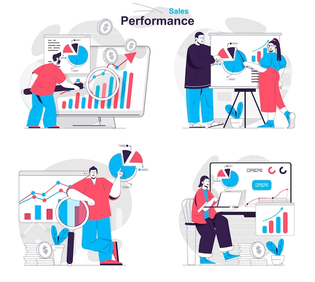 Sales performance concept set marketers analyze data on income profit business