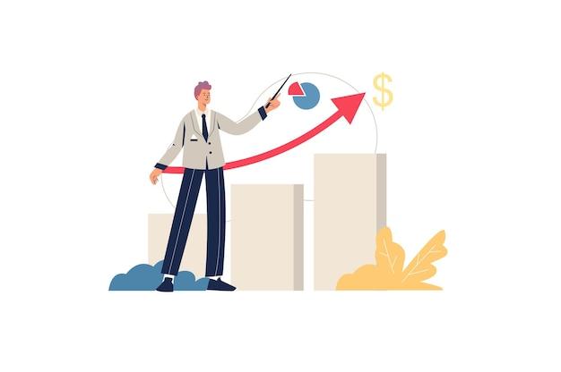 販売実績のwebコンセプト。男性のマーケティング担当者は、利益の成長、成功した事業開発、財務統計の分析、最小限の人々のシーンを示しています。ウェブサイトのフラットなデザインのベクトル図