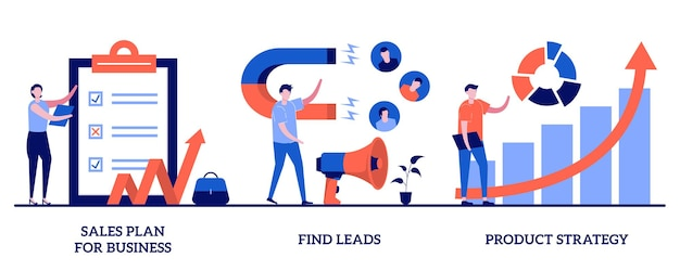 Sales plan for business, find leads, product strategy concept with tiny people