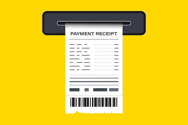 Sales printed receipt on atm. the concept of receiving a check about payment. paper printed receipt. receipt, paper receipt, invoice, financial check. financial app