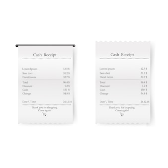 Sales printed receipt. bill atm template, cafe, shopping or restaurant paper financial check.