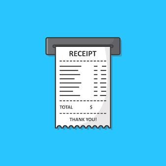 Продажа напечатанных чеков значок иллюстрации. квитанция бумаги плоский значок
