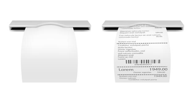 Квитанция продажи. распечатанный чек. банкомат шаблон счета.
