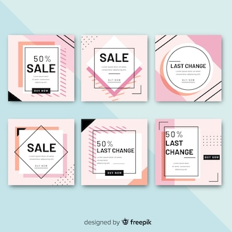 Sales squared banner set