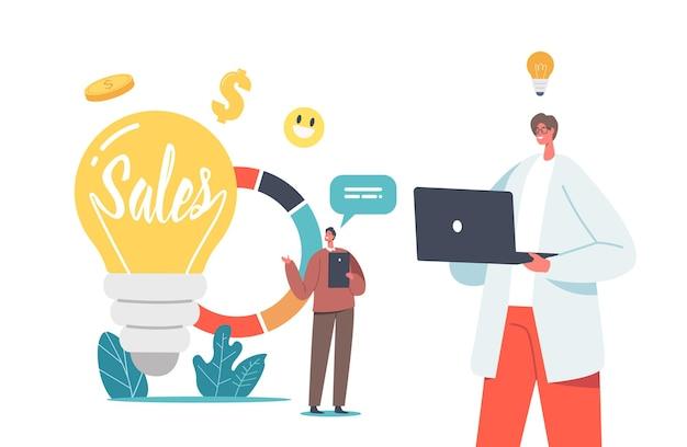 巨大な電球のガジェットを備えた小さなビジネスマンのキャラクターと統計または分析情報を備えた円グラフを使用した販売戦略とビジネスアイデアの概念。漫画の人々のベクトル図