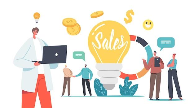 統計または分析情報を含む巨大な電球と円グラフでの小さなビジネスマンとビジネスウーマンのキャラクターとの販売戦略ビジネスコンセプト。漫画の人々のベクトル図