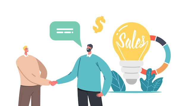 Sales strategies concept. tiny businessmen characters shaking hands at huge light bulb and pie chart with business statistics or analytics corporate information. cartoon people vector illustration