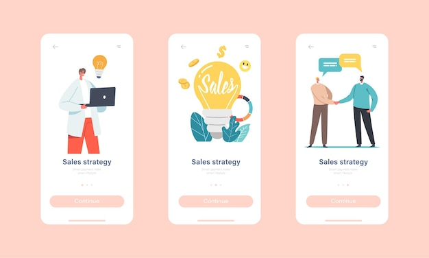 Sales strategies mobile app page onboard screen template. tiny businessmen and businesswomen characters at huge light bulb, business statistics or analytics concept. cartoon people vector illustration