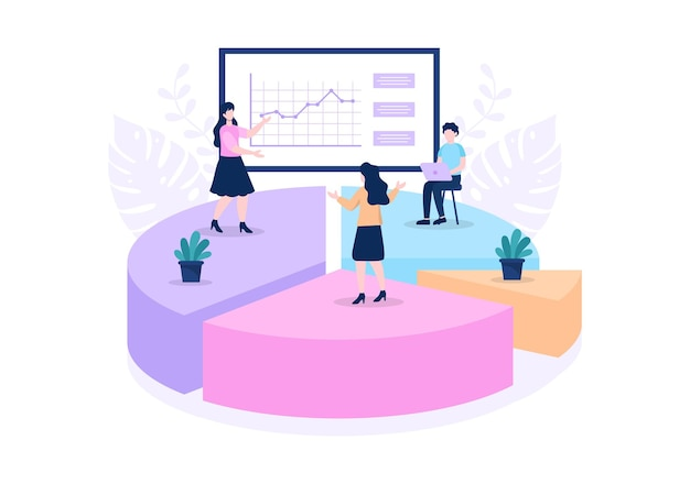 Команда продаж с развитием финансового бизнеса из работающих людей. аналитика информации о компании векторные иллюстрации
