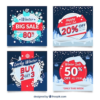 Sales winter banners set