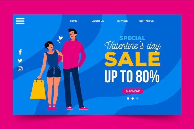 Sales with discounts on valentines day
