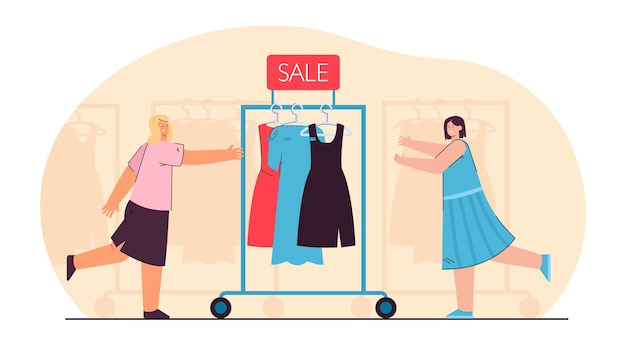 Salesgirls pushing clothes rail with dresses. sale of gowns flat illustration