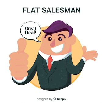 Salesman background in flat design