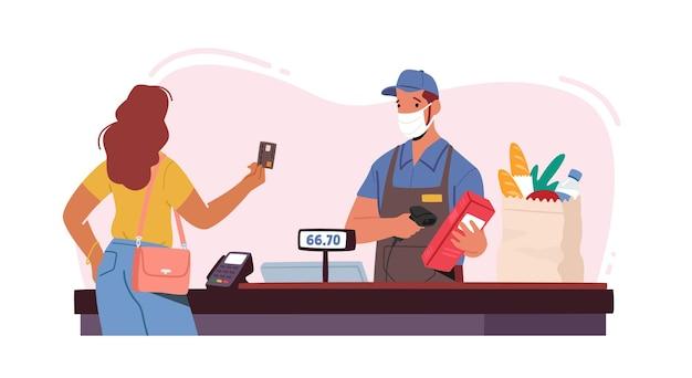 Персонаж продавца в маске для лица использует терминал pos