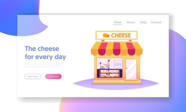 Salesman character work in cheese shop landing page template. seller weigh products for customer in store with varieties of production on shelves, farm dairy food market. cartoon vector illustration