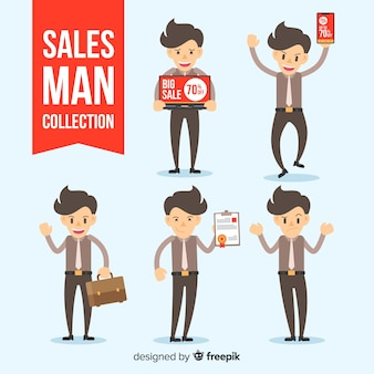 Salesman collection in different positions