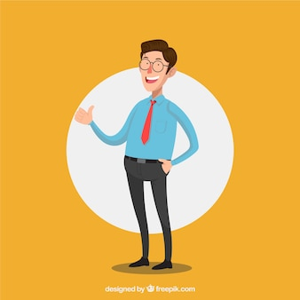 Salesman composition with flat design