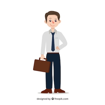 Salesman composition with flat design
