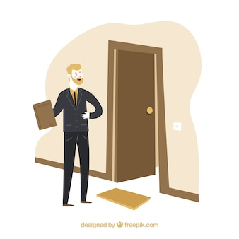 Salesman concept with door