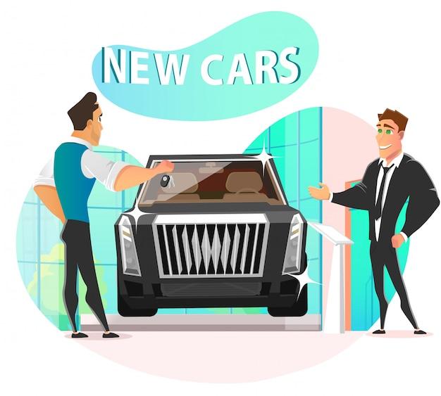 Salesman giving keys businessman from new car
