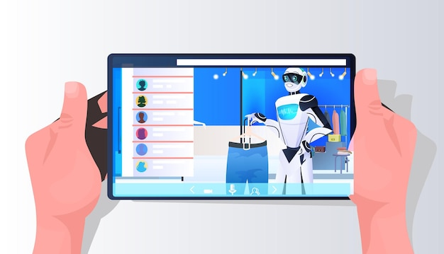 Salesman robot showing clothes on smartphone screen in fashion boutique artificial intelligence technology concept