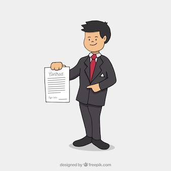 Salesman showing contract