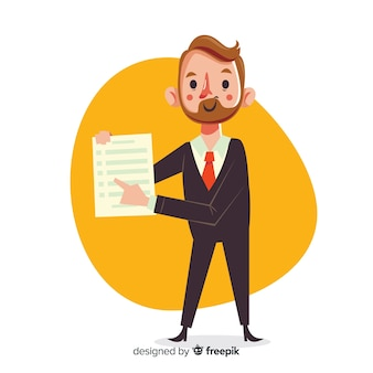 Salesman with contract in flat design