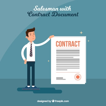 Salesman with contract